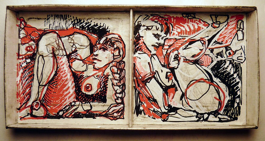 Drawing of two female figures in a divided paperboard box; by Kim-Lee Kho